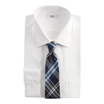 Big & Tall Croft & Barrow Stretch Collar Dress Shirt and Patterned Tie Boxed Set, Men's, Size: LT 36/37, White