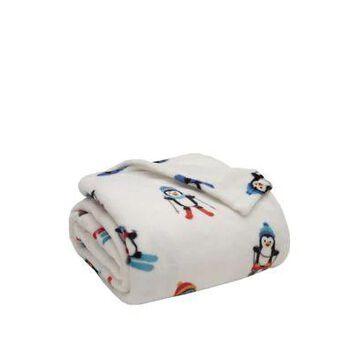 Elite Home Products Alpine Penguin Plush Blanket - -