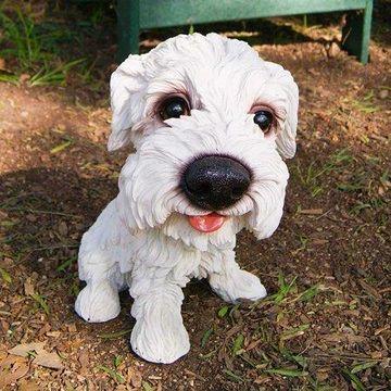 Alpine White Puppy with Big Head Statue, 14 Inch Tall