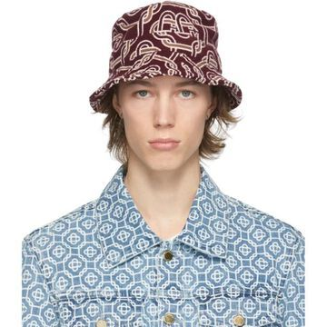 Casablanca Burgundy Wool Monogram Bucket Hat