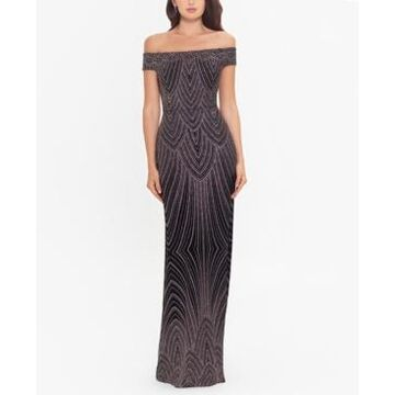 Betsy & Adam Off-The-Shoulder Glitter Gown