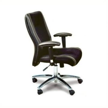 Safco Mercado Black Leather in Mesh Combo Conference Office Chair - Black - Mayline