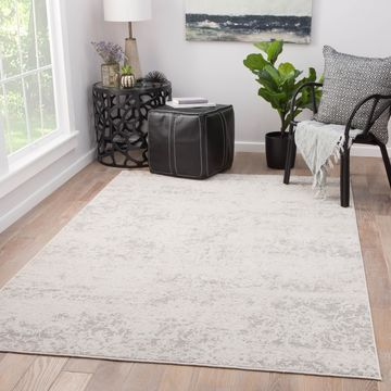 Cheyenne Abstract Grey/ White Viscose Blend Area Rug (9' x 12') - 8'10
