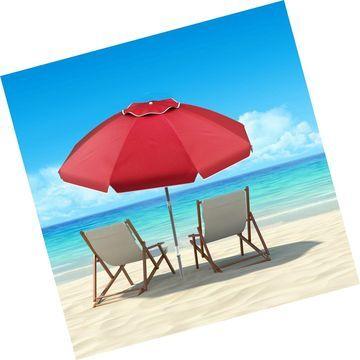 Pure Garden 50-LG1093 Beach Umbrella with 360 Degree Tilt-Portable Outdoor Su...