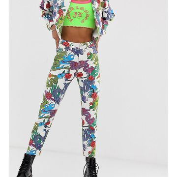 Jaded London high waist mom jeans in dragon print two-piece