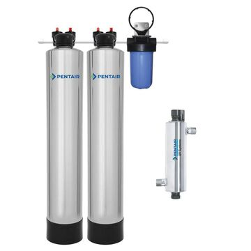 Pentair 15-GPM Carbon Block Whole House Water Filtration System Stainless Steel   PSE2000-PUV-14-P