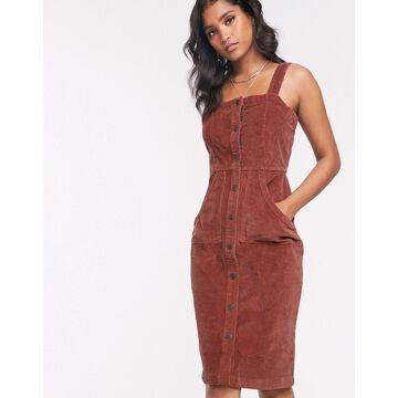 Vero Moda button front cord pinny dress in brown