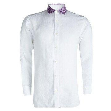 Brioni White Linen Paisley Detailed Collar Shirt L