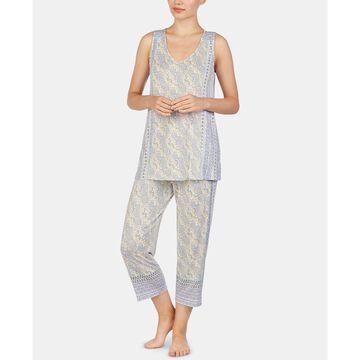 Paisley-Print Knit Tank Top and Capri Pajama Pants Set