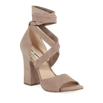 Racha Strappy Ankle-Tie Suede Sandals