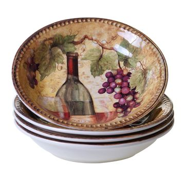 Certified International Gilded Wine 4-pc. Pasta Bowl Set..