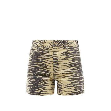 Ganni - Zebra-print Organic Cotton-blend Denim Shorts - Womens - Yellow