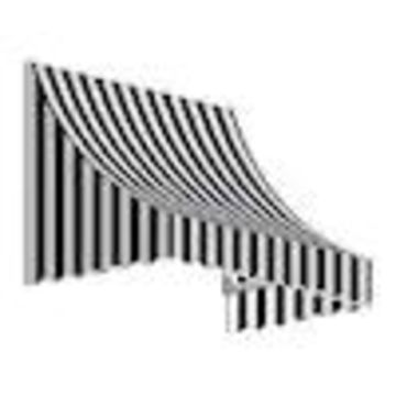 Awntech Nantucket 124.5-in Wide x 24-in Projection Striped Crescent Window/Door Fixed Awning