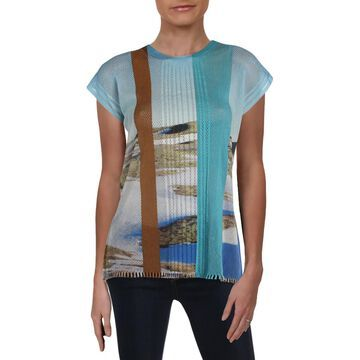 Issey Miyake Womens Printed Open Stitch T-Shirt