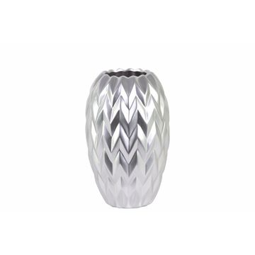Round Vase Embossed Wave Design and Rounded Bottom- Small- Silver- Benzara