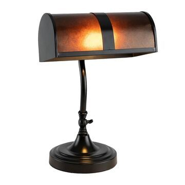 Bankers Lamp with Amber Mica Shade by Lavish Home