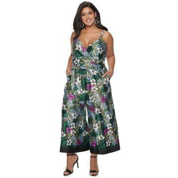 Plus Size Jennifer Lopez Tropical Floral Jumpsuit