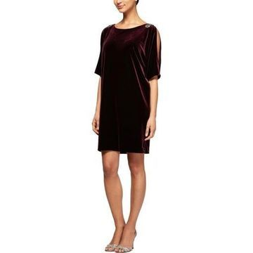 Alex Evenings Womens Velvet Embellished Special Occasion Dress