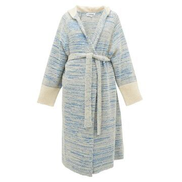 Loewe - Longline Boucle-knitted Cotton-blend Cardigan - Womens - Blue
