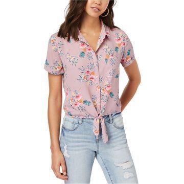 Hippie Rose Womens Striped Button Up Shirt