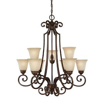 Barclay 9-light Chesterfield Brown Chandelier