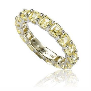 Suzy Levian Sterling Silver Cubic Zirconia Yellow Modern Anniversary Ring