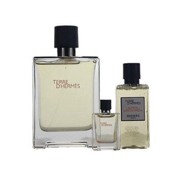 Terre D' Hermes 3 Pc. Gift Set ( S/g 1.35 Oz + Edt 3.4 Oz + Edt 0.17 Oz) for Men by Hermes