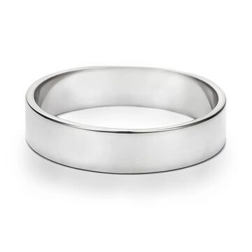 TwoBirch 5 Millimeter Wide Plain Men's Wedding Ring in Solid Platinum