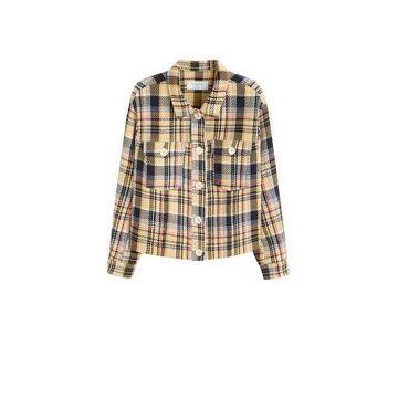 Violeta BY MANGO - Check tweed jacket mustard - M - Plus sizes