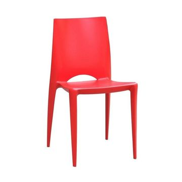 Fine Mod Imports Molded Frame Square Dining Chair - Red