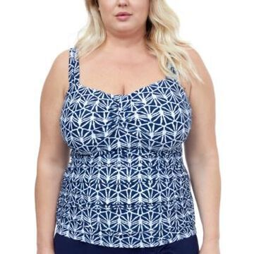 Profile by Gottex Plus Size Nomad Printed Underwire Tankini Top Women's Swimsuit