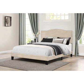 Hillsdale Furniture Kiley Upholstered Arched Full Bed with Nail Head Trim, Linen