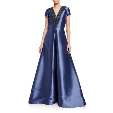 Beaded-Trim V-Neck Cap-Sleeve Faille Gown w/ Inverted Pleat