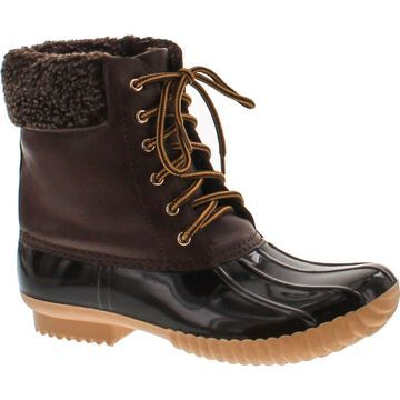 Nature Breeze Duck-02 Women Stitching Lace Up Side Zip Waterproof Insulated Boot,Brown,8