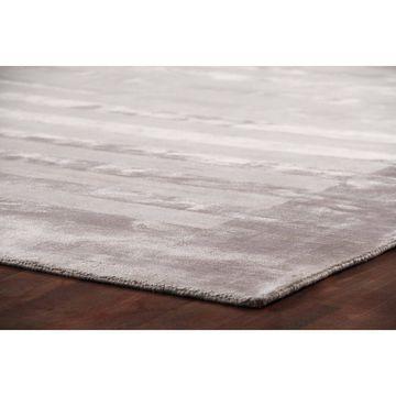 Exquisite Rugs Wide Stripe Silver Viscose Rug - 8' x 10'