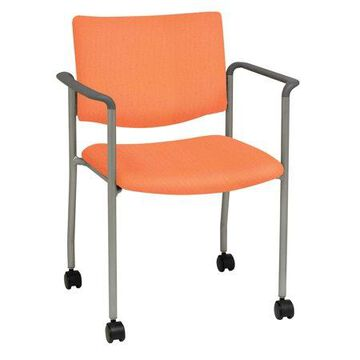 KFI Evolve Guest Chair with Casters, Arms, Java Vinyl