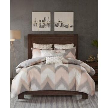 Ink+Ivy Alpine Cotton Reversible Full/Queen Chevron Stripe Print Duvet Mini Set Bedding