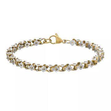 "Men's LYNX Stainless Steel Square-Link Chain Bracelet, Size: 8.5"", Multicolor"