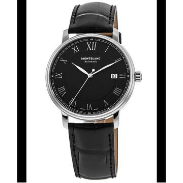 Montblanc Tradition Black Dial Leather Strap Men's Watch 116482 116482