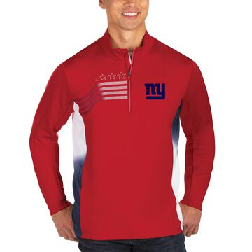 Men's Antigua Red/White New York Giants Liberty Quarter-Zip Pullover Jacket