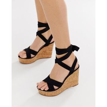 Truffle Collection tie ankle wedges