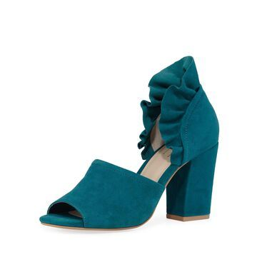 Tropical Ruffled Suede Sandals