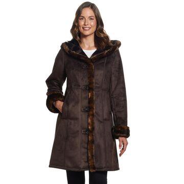 Women's Gallery Faux-Fur Hood Faux-Shearling Jacket