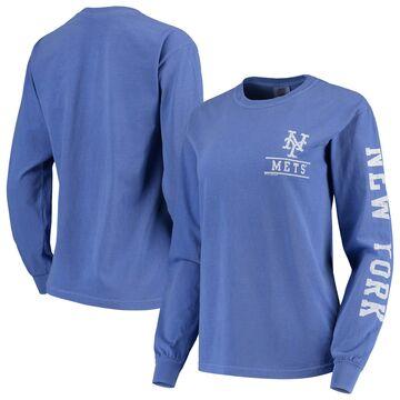 New York Mets Soft as a Grape Women's Pigment Dye Comfort Color Long Sleeve T-Shirt - Royal