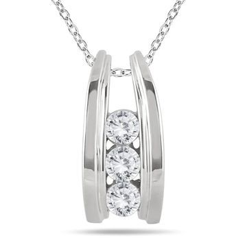 Marquee Jewels 10k White Gold 1/2ct TDW Diamond Ladder 3-stone Necklace (18 Inch - White)