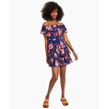 Bar Iii Floral-Print Off-The-Shoulder Ruffled Mini Dress, Created for Macy's