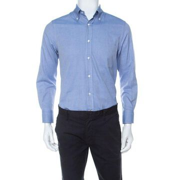 Loro Piana Light Blue Woven Cotton Long Sleeve Button Down Collar Shirt S