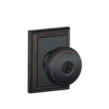 Schlage F Decorative Andover x Addison Aged Bronze Keyed Entry Door Knob Single Pack