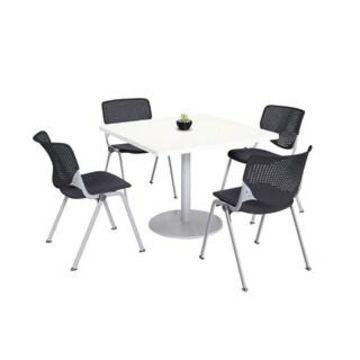 KFI KOOL Table & Chair set, White Table Top (42 inch table top - Black)