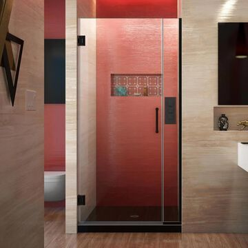 DreamLine Unidoor Plus 72-in H x 29-1/2-in to 30-in W Frameless Hinged Satin Black Shower Door (Clear Glass) | SHDR-242957210-09